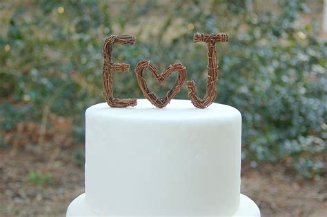 ideas to incorporate a custom wedding monogram etsy weddings rustic cake topper onewed