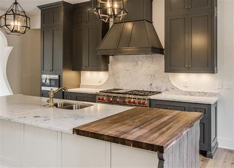 Marble And Butcher Block Countertops by Gray Shaker Cabinets With White Kitchen Island