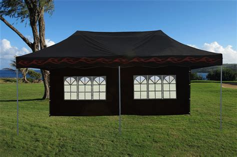 enclosed pop  canopy party folding tent gazebo black flame  model ebay