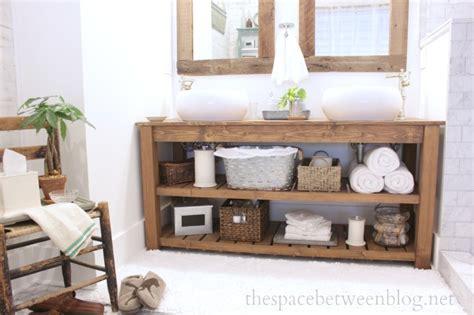 Build Your Own Bathroom Vanity Plans by Diy Wood Vanity In The Master Bathroom
