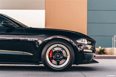 black supercharged ford mustang gt  forgestar
