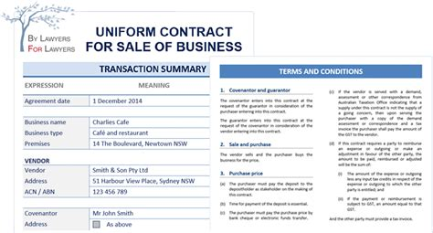 contract for sale of business nsw template uniform contract for sale of business leap legal software
