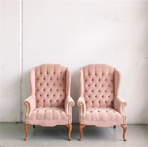 tufted pink velvet wingback chairs chicago wedding