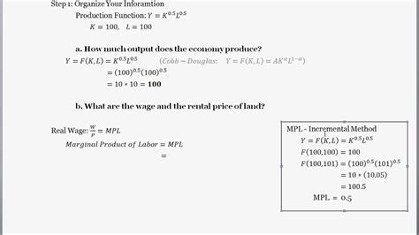 production function finding  wage rate rental