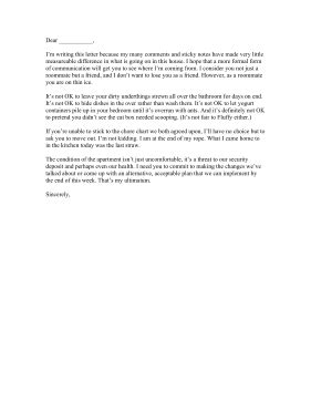 Messy Roommate Complaint Letter