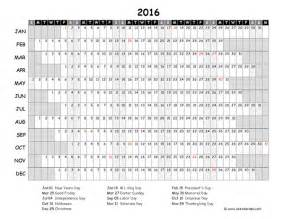 Printable 2016 Yearly Calendar Template Excel