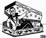 Coffin Coloring Getting Vampire Printable sketch template