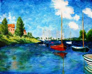 Painting of Claude Monet Red Boat