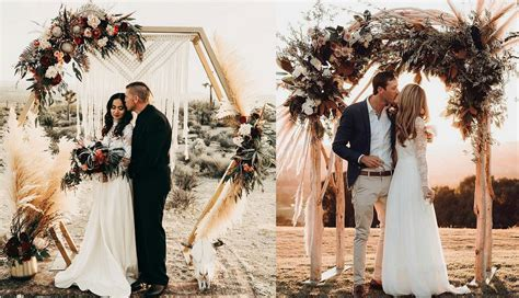 Top 20 Bohemian Pampas Grass Wedding Arches Roses And Rings