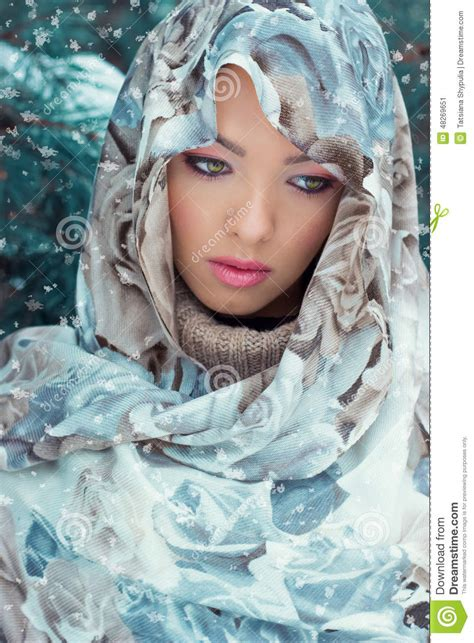 Beautiful Young Mysterious Woman With A Scarf On Her Head ...