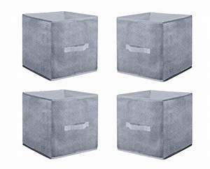 Stoffbox Mit Deckel : 4er set aufbewahrungsbox grau 30 30 cm regal w rfel box faltbox stoffbox faltkiste ordnungsbox ~ Frokenaadalensverden.com Haus und Dekorationen