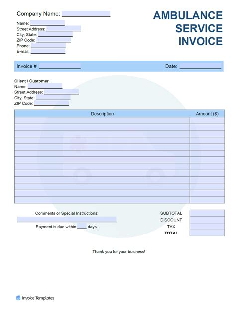 ambulance service invoice template  word excel
