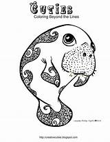 Coloring Manatee Cuties Pages Manatees Creative Adult Printable Pet Animal Cute Littlest Sheets Colouring Baby Template Printables Week Books Cutie sketch template