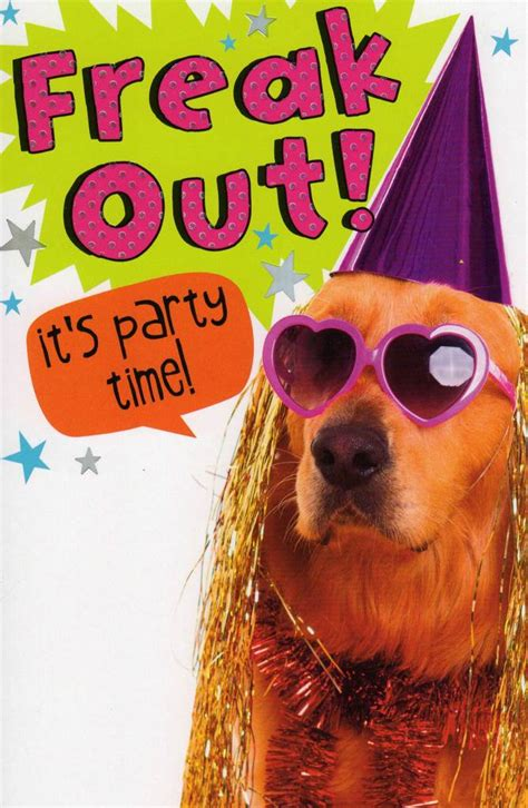 funny freak  party time birthday card cards