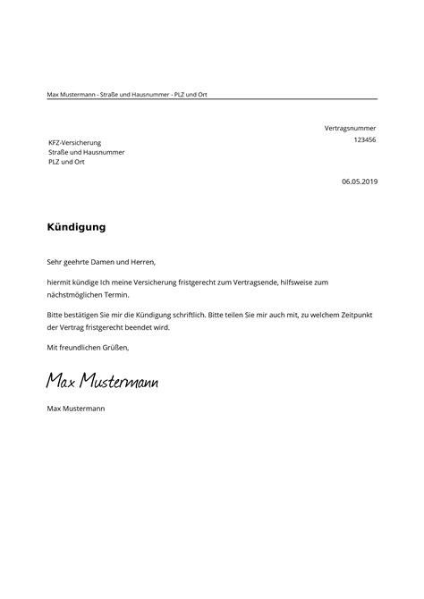 Kfz Versicherung Kuendigen by Kfz Versicherung K 252 Ndigen Kostenlose Muster Vorlage