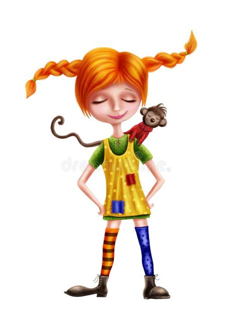 cute  red haired girl   monkey stock