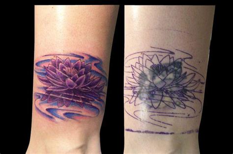 Violet Lotus Cover Up Tattoo Design