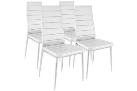 chaises blanches pas cher lot de 4 chaises design simili cuir blanc houston