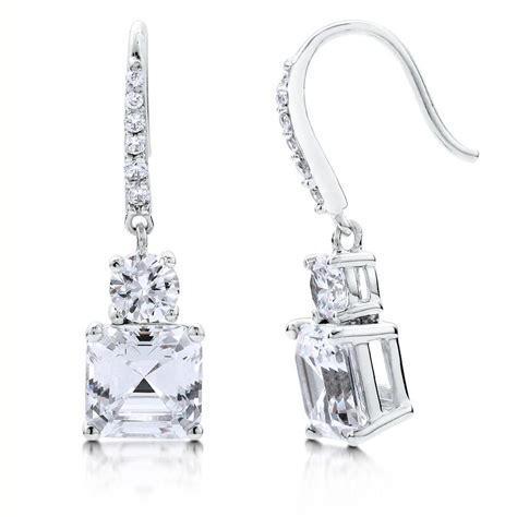 solitaire drop earrings berricle silver asscher cz solitaire fish hook dangle drop