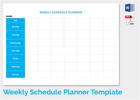 weekly schedule templates    premium