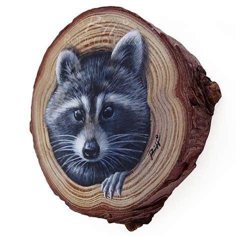 raccoons lair  unique wood slice painting  decorate