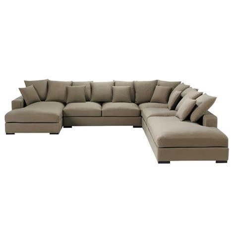 canapé d angle belgique canapé d 39 angle modulable 7 places en coton taupe loft