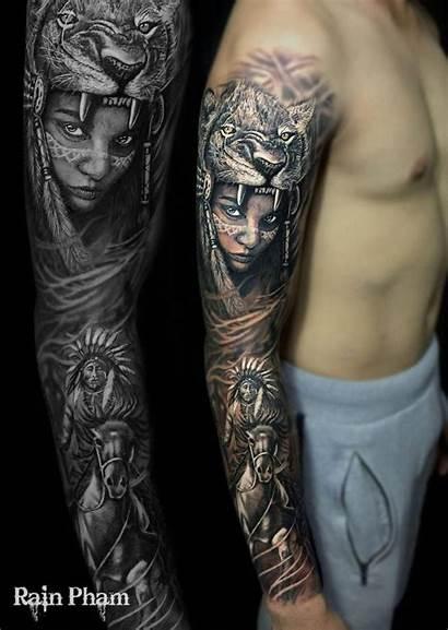 Tattoo Tattoos Indian Arm Native Angel Sleeve