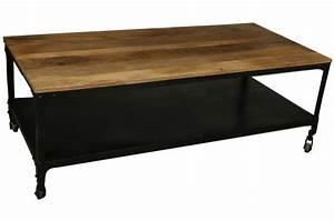 Table Basse Sur Roulette : table basse industrielle roulettes en bois movea design ~ Melissatoandfro.com Idées de Décoration