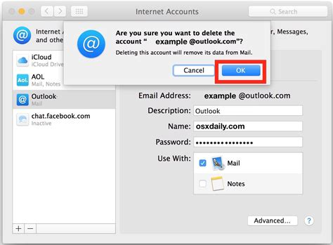 how to delete an email account from mac os x