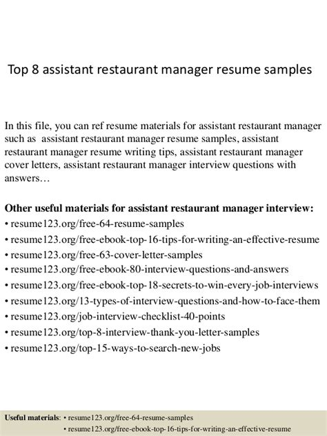 top  assistant restaurant manager resume samples