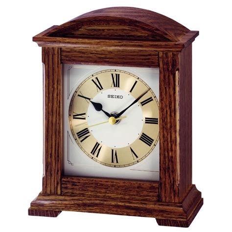 wood mantel clocks seiko wooden mantel clock quiet sweep seconds hand gold dial seiko from sinclairs uk