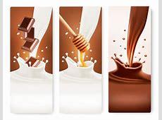 Splash milk and chocolate vector banner 03 Vector Banner