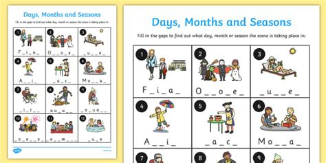 days months  seasons missing letters worksheet months