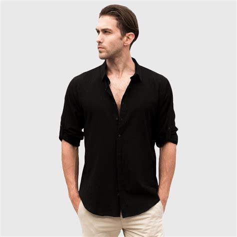 cheap white linen long sleeve shirts  men