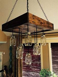 Diy, Pallet, Chandeliers, With, Mason, Jars