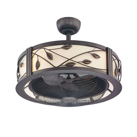 large ceiling fans with remote control shop allen roth eastview 23 in aged bronze downrod mount