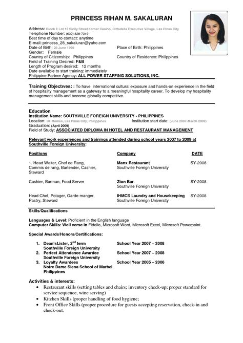 sle resume philippines resume sle for teachers in the philippines cover letter templates