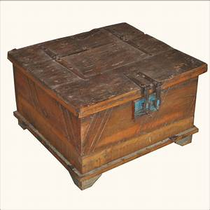 reclaimed old wood distressed rustic square storage trunk With rustic square coffee table with storage