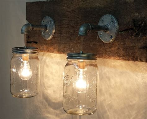 Rustic Bathroom Light Fixtures by Jar 2 Light Fixture Rustic Reclaimed Barn By