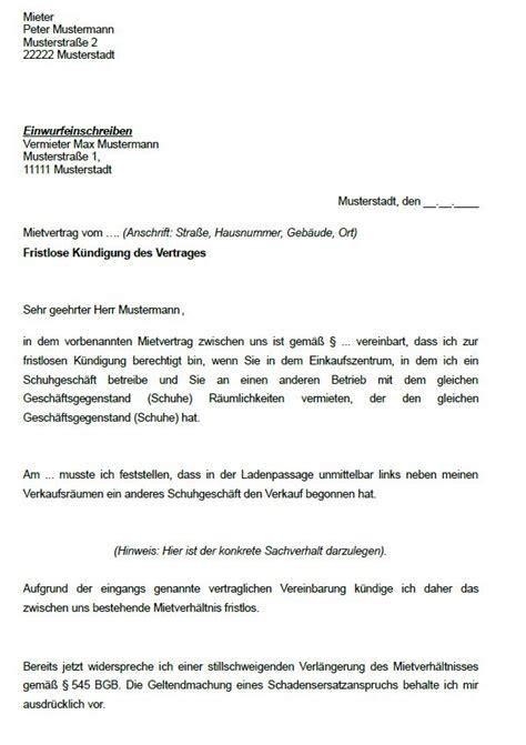 Kündigung Eines Mietvertrages Durch Den Vermieter by K 252 Ndigung Mietvertrag Vermieter Vorlage Eigenbedarf