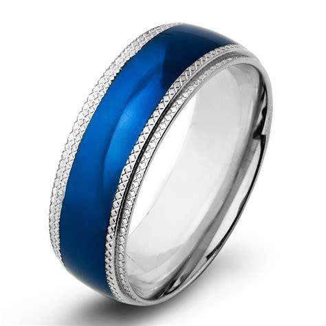 men 8mm wedding engagement band stainless steel blue ip grove cut step edge ring ebay