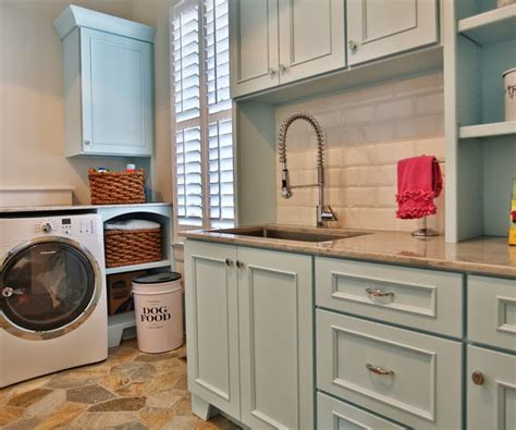 blue cabinets transitional laundry room sherwin williams aviary blue stacye love