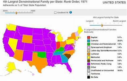 Largest 1971 State Denominations Families States United