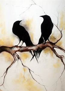 Original Charcoal Drawing Ravens on a Branch LARGE Drawing