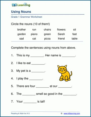 noun worksheets for elementary school printable free k5 learning