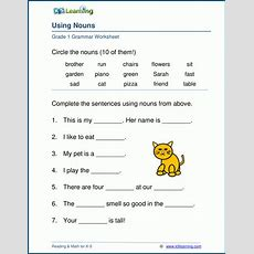 Noun Worksheets For Elementary School  Printable & Free  K5 Learning