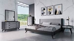 Nova Domus Panther Contemporary Grey  U0026 Black Bed