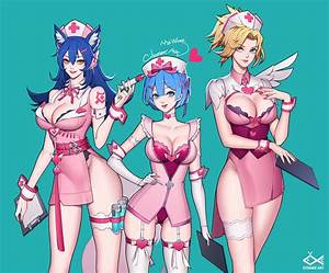 Ahri Mercy And Rem League Of Legends Overwatch And Re