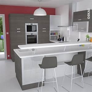 cuisine en u ouverte avec retour snack meuble de cuisine With meuble evier bois