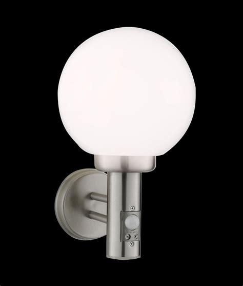 exterior glass globe wall light with integral pir sensor